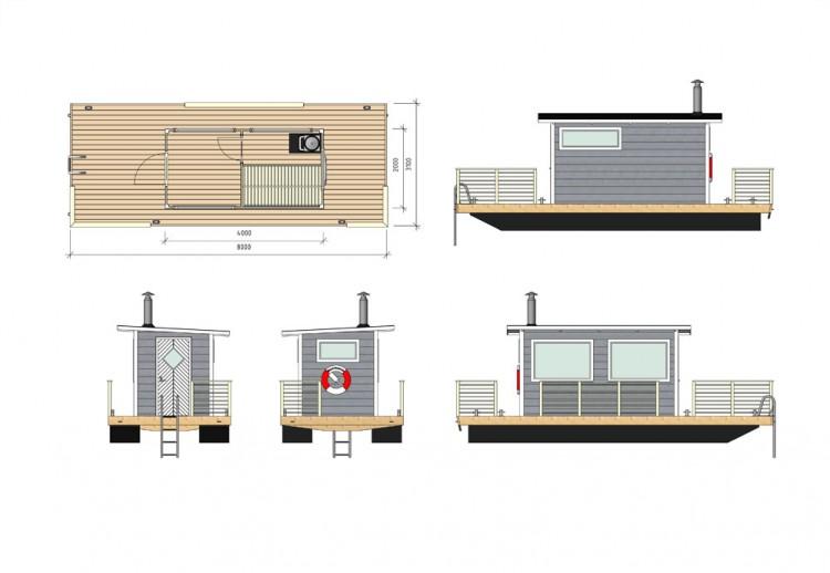 Planritning på bastuflotte Svea