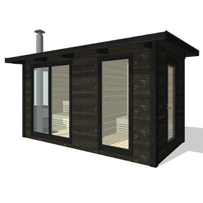 Ritning på gårdsbastu med helglasade fönster - Marinbastun