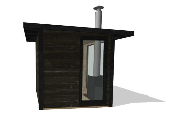 3D ritning på bastustuga med fönster från golv till tak