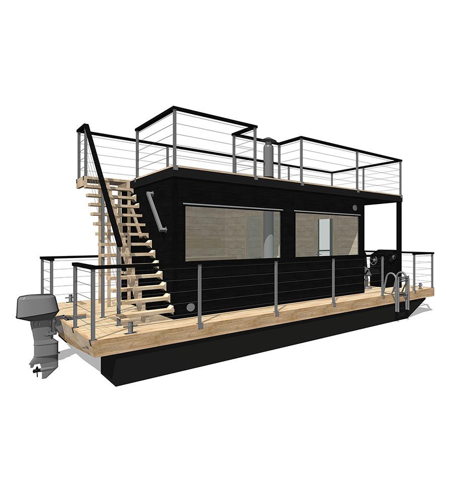 Bastuflotten Frank XL med takterrass ritning - Marinbastun