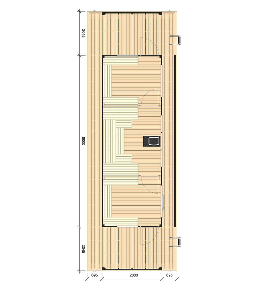 Planritning på bastuflotte Julian