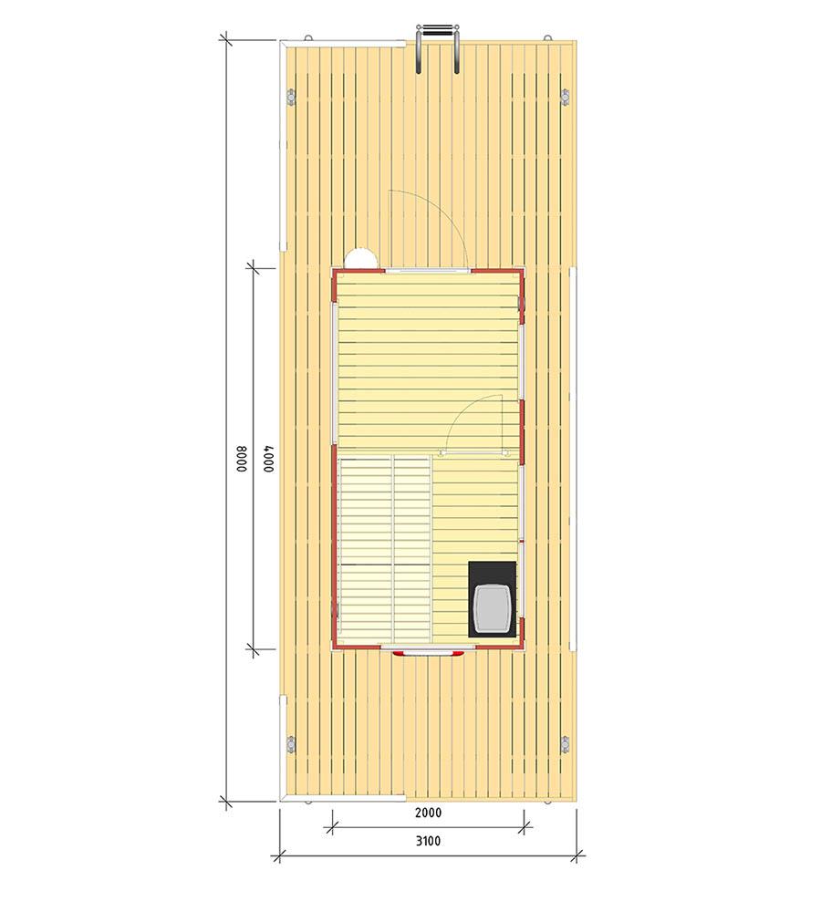 planlösning på Livia - Marinbastun
